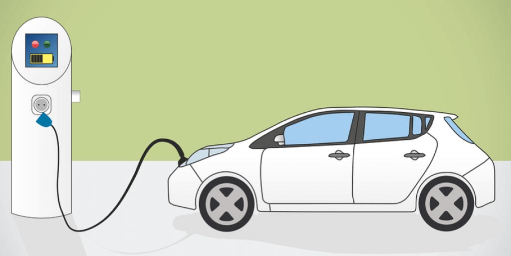 carro elétrico carregando ilustração