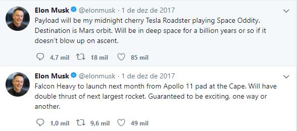 tesla ao espaço elon musk twitter