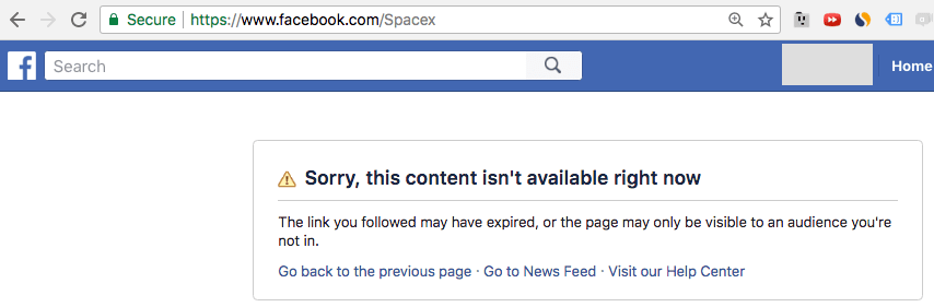 Facebook SpaceX Fora do ar