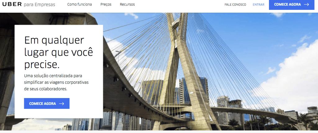 Uber para empresas site