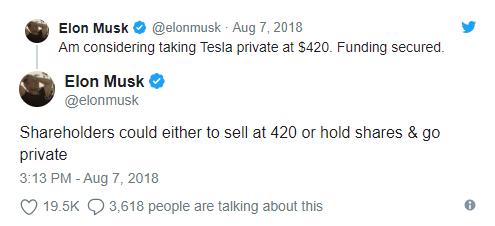 Elon Musk tweet sobre tirar a Tesla da bolsa