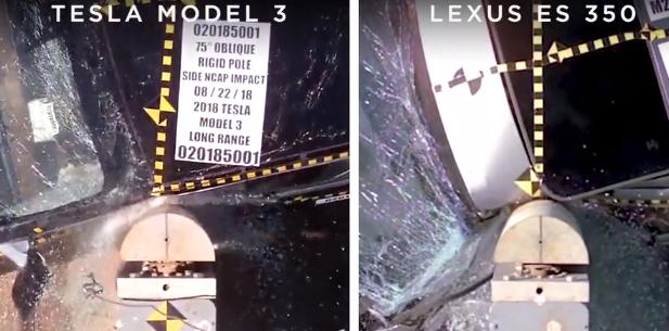 Model 3 em simulação de colisão lateral, comparado ao Lexus ES 350