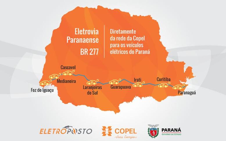 Mapa da cobertura da Eletrovia Paranaense