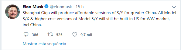 Gigafactory Xangai Tweet Elon Musk