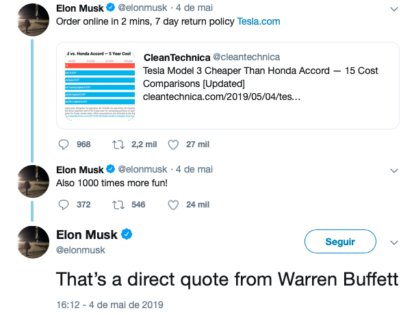 Tweet Elon Musk para Warren Buffett Seguro Tesla