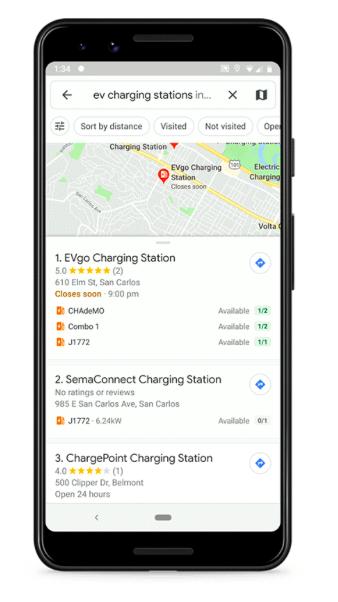 Google Maps eletr opostos