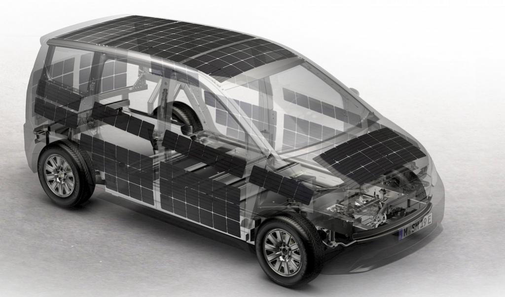 carro elétrico células solares